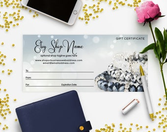 SALE 35% OFF Gift Certificate Printable - Gift Certificate Download - Printable Gift Certificate   Gift Certificate Design - Jewelry 8