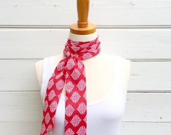 Res Skinny Scarf, Cotton Skinny Scarf, Neck Tie for Women, Long Thin Scarf, Headband, Choker Scarf, Head Wrap, Summer Scarf