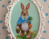 Peter Rabbit Original Easter Painting, Easter Art, Easter Bunny Painting, Easter Eggs and Easter Basket With Bunny