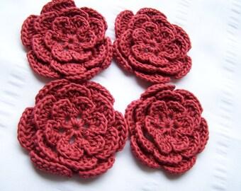 Flower crochet motif 2.5 inch cotton rustic set of 4