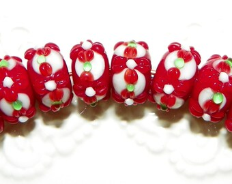Red and White Flowers Lampwork Rondelle Beads - 8 Pieces  Lot