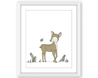 Deer Nursery Art -- Deer and Butterfly -- Woodland Nursery Art -- Deer Art -- Woodland Animal Art, Children Art, Kids Wall Art, Deer Picture