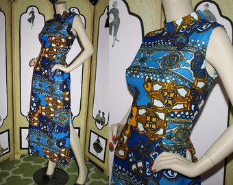 Vintage 60's Blue Mid-Century Column Dress. Small