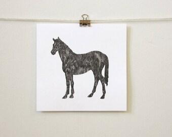 "minimal equestrian art: ""black horse,"" hand-pressed thermal print"