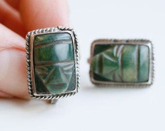 1940s Mexican green onyx face screw on silver earrings / 40s vintage hand carved green stone mask non-pierced earrings made in Mexico