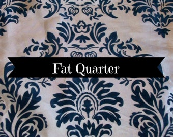 Flocking Damask Bolt Fabric Fat Quarter Royal and Navy Blue Brown, Eggplant, Black & White