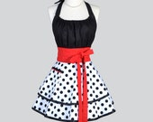Flirty Chic / White Black Dot Red Trim Sexy Retro Pinup Womens Apron in Colors that Never Go out of Style Large Pocket Apron