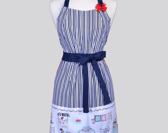 Classic Womens Retro Apron / Vintage Market Border and Navy Stripes in a Cute Kitchen Apron with Deep Side Pockets