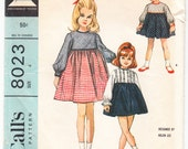 Vintage 1965 McCall's 8023 Helen Lee Sewing Pattern Girls' Dress in Three Versions Size 4
