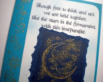 INVISIBLE TIES ~ Mixed Media Collage Card, quote by Nikola Tesla
