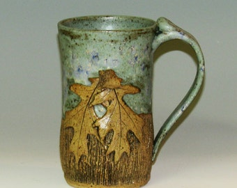 Textured  Mug with Oak Leaves and Acorns