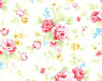 Antique Flower in Pastel 2016  Collection Cotton Fabric by Lecien 31420-10  Roses on Light Cream