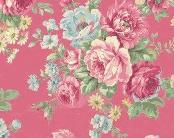 Ruru Bouquet Love Rose Love Cotton Fabric Rose ru2300-11E Roses on Dark Pink