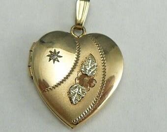 Black Hills Gold Locket 10K Flowers on Gold Filled Heart