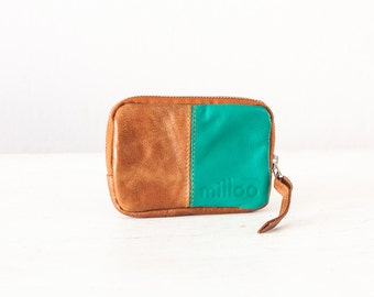 Leather coin purse in brown and sea green, small zipper wallet zipper phone case money bag - The Myrto Zipper pouch