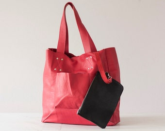 Shopper tote bag in Amaranth pink leather, shoulder bag women purse large raw edge leather tote - The Aella tote