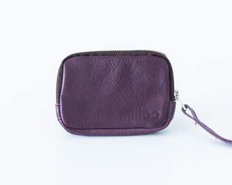 Zipper small pouch in violet purple leather, coin purse zipper phone case money bag zipper-The Myrto Zipper pouch