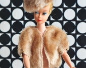 """Barbie clone """"mink"""" jacket and fur hat, fur wrap and hat,60s factory made"""