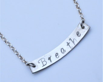 Breathe Sterling Silver Minimalist Bar Necklace EE Designs