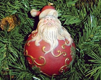Santa, Hand Painted Santa Ornament, Porcelain Santa Ornament, Hand Painted Santa, Santa Claus, Santa, Christmas Ornament, NewYorkTreasures