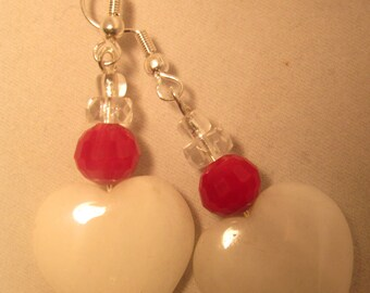 White Quartz Hearts and Red Crystal Earrings