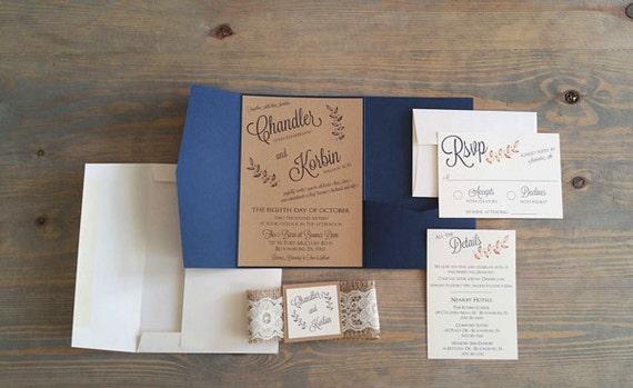 rustic wedding invitation, navy wedding invitation, wedding stationery, custom invitations, custom wedding stationery, cream, navy, copper