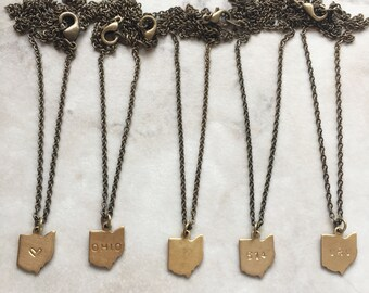 Choose Your State Necklace | Dainty Brass Necklace | Heart | State Name | Blank | Area Code | Initials | N60019