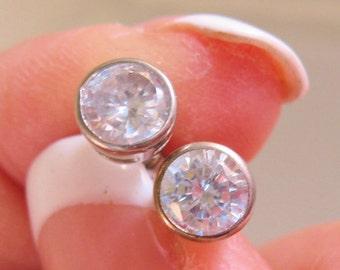 1.5ct CZ Sterling Silver Stud Earrings Bezel Set Vintage Jewelry Jewellery