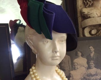 Fabulous Vintage 40s Old Hollywood Wool Felt Royal Blue Green Red Avant Garde  Ladies Hat Fascinator