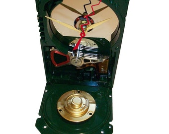 Glossy Green Painted Computer Hard Drive Clock, a Special Color. Accented Base with Computer Components