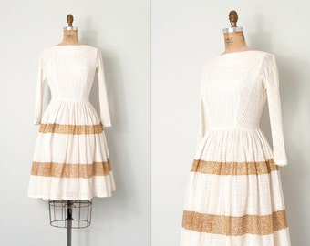 vintage 1950s dress / ivory crochet lace 50s dress / small s