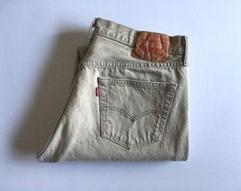 Vintage Men's 80's Levi's 501XX, Tan Jeans, Red Tab, Denim (W34 x L31)
