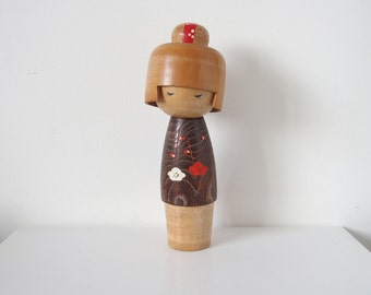 Kokeshi Wooden Home Decor Japanese Girl Plum Blossom Design White Red