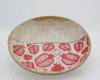 Large ceramic bowl - Ceramic serving tray - Pottery platter - Large fruit bowl - Pomegranete bowl - wedding gift - housewarming gift