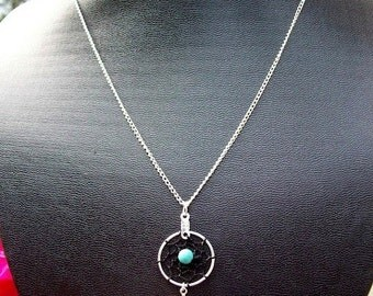 ON SALE DREAM Catcher Black & blue Necklace with Silver, Black and Turquoise