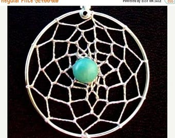 """ON SALE Dream catcher necklace in Sterling silver with Turquoise & 20"""" chain Dream in Turquoise Large pendant"""