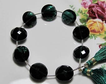 "7"" Strand -  Vivid Dark Green QUARTZ Faceted Coin Briolettes"