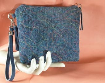 Carnival wristlet purse 6 1/2 x 6 1/4 inches...denim with leather tassel and strap decemberleahandbags
