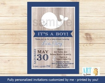 Rustic Little White Whale Nautical Boy Baby Shower Invitatons (Navy Blue and White) Print Your Own Digital | Personalized JPG or PDF bs-057