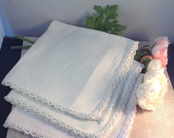 three Vintage White Napkins , white Linens for table , Crochet edged Linens