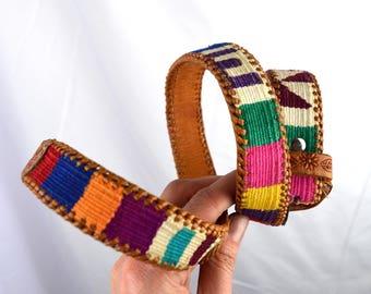 Vintage Leather Guatemalan Rainbow Tooled Woven Fabric Belt - Medium