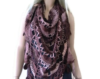 Winter browns  Bohemian crochet. scarf-Chocolate color Super lacy Crochet scarf with fringes-Silk and mohair-Handmade