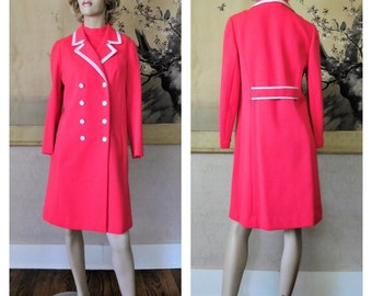 Vintage 60's Butte Knit Coral Pink Matching Dress Coat Suit 34 Bust