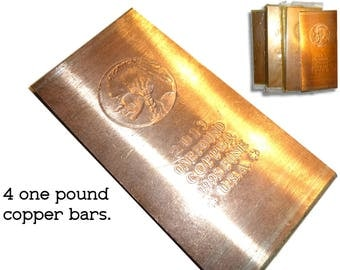 4 - One Pound Copper Ingot Bars for Copper or Metal Smithing or Crafting. Four .999% Pure Copper Bars.