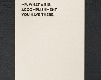 accomplishment. letterpress card. #933