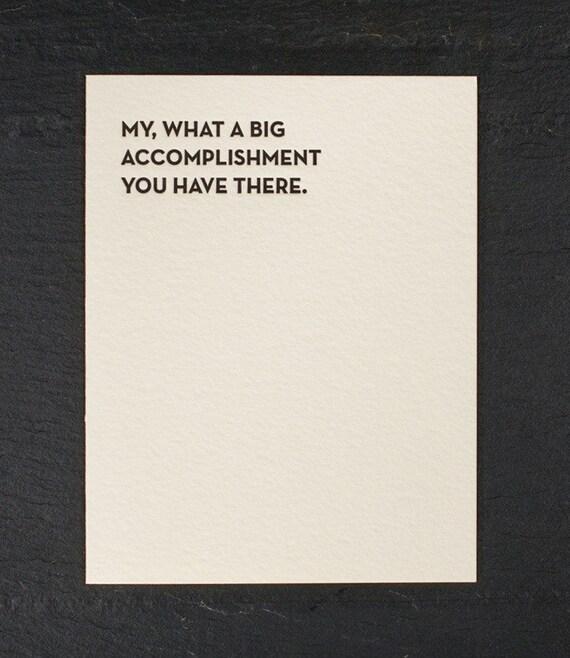 accomplishment. letterpress card. #933