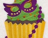 Mardi Gras Cupcake with Mask White Cotton Kitchen Tea Towel
