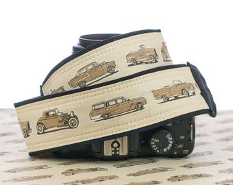 dSLR Camera Strap, Vintage Cars, Red, Tan, Replacement Strap, SLR, Mirrorless, Camera Neck Strap, 289 288