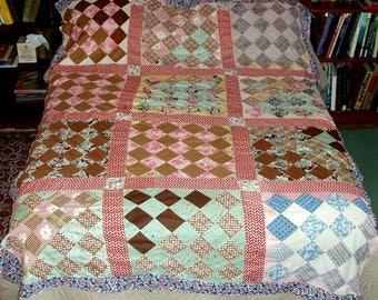"ANTIQUE QUILT TOP,handsewn,84""x68"" pieced 16 patch,full,twin,double,flowers,plaids,red,green,blue,pink,white,navy,mint,brown,yellow,black"