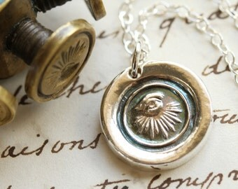 All Seeing Eye Victorian Wax Seal Necklace - Fine Silver, Sterling Silver